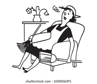 Exhausted Housewife - Retro Clip Art Illustration