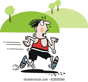 Exhausted jogger vector cartoon