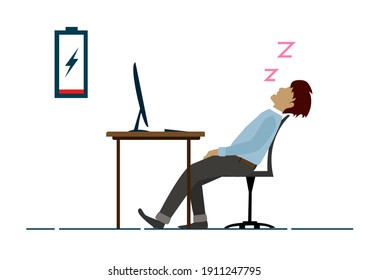 The exhausted male employee sleeps on the desk in the office. Flat style cartoon illustration vector