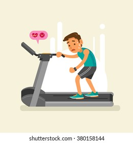 an exhausted man on a treadmill. Vector illustration