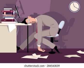 Exhausted man sitting in the office late at night, putting his head on the desk, vector illustration, ESP 8, no transparencies