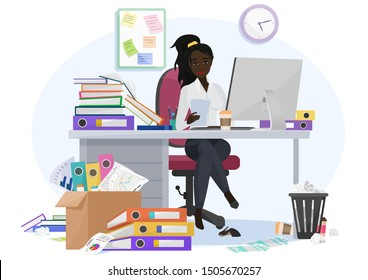 Exhausted overwhelmed by work african american black young female employee stays late at work in the office. Tired by workload woman with a lot of paperwork, additional tasks vector illustration