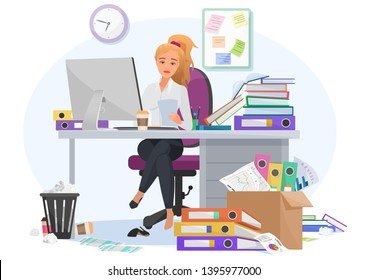Exhausted overwhelmed by work young female employee stays late at work in the office. Tired by workload woman with a lot of paperwork, additional tasks vector illustration.