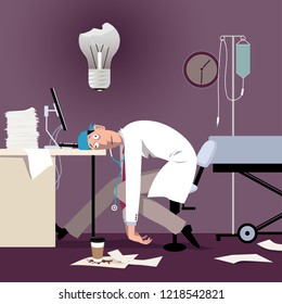 Exhausted overworked doctor or intern sitting at the desk in a hospital, burned out light bulb above his head, EPS 8 vector illustration