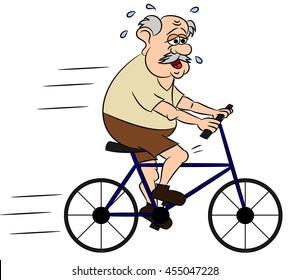 Exhausted senior on bike