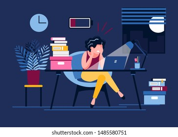 An exhausted woman works in the office until late with a discharged battery. Female office worker stayed at work until night. Stress, depression at work. Vector illustration. Workplace burnout concept