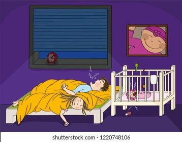 Exhausted women having trouble with her husband snoring and her newborn child crying in the baby cot - original hand drawn illustration.