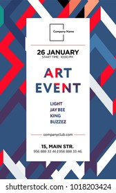 The exhibition art flayer, poster, card or banner. Abstract shapes in the frame with text. Vector design.