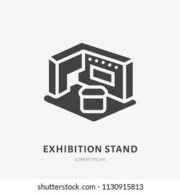 Exhibition banner stand flat glyph icon. Trade show sign. Solid silhouette logo for marketing event.