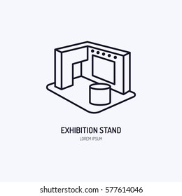 Exhibition banner stand vector line icon. Advertising sign
