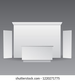 exhibition booth or counter promotion with wall from front view. render