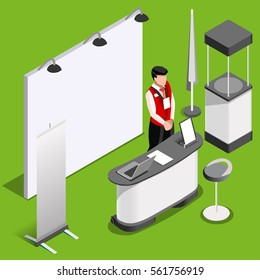 Exhibition booth mockup demo stand man promotion desk roll up display panel. 3D retail stand Isometric People icon set. Creative design vector illustration mockup collection