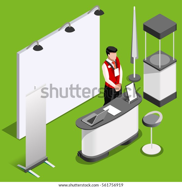 Exhibition Booth Mockup Demo Stand Man Stock Vector (Royalty Free