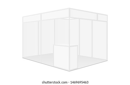 Exhibition booth mockup with table - side view. Vector illustration