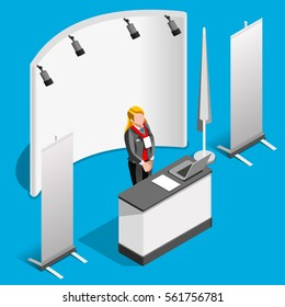 Exhibition booth stand woman promotion desk roll up display panel. 3D Isometric People trade show stand icon set. Creative design vector illustration stand collection