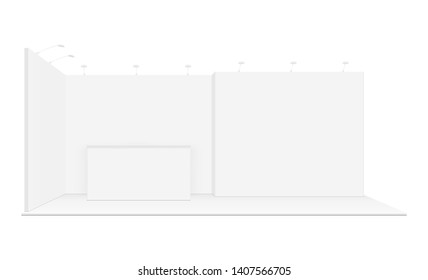 Exhibition display booth mockup - front view. Promotional equipment for fair or event. Vector illustration