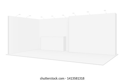 Exhibition display booth mockup - side view. Promotional equipment for event or fair. Vector illustration