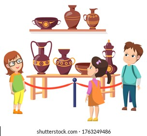 Exhibition with exponents vector, back to school concept, kids looking at shelves with amphoras and pots. Historical items, ancient vases and urns, boy and girls classmates. Flat cartoon children