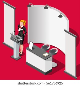 Exhibition hall booth stall signage stand woman demo promotion desk roll up display panel. 3D Isometric People icon set. Creative design vector illustration 3D booth background collection