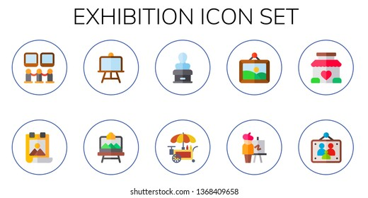 exhibition icon set. 10 flat exhibition icons.  Simple modern icons about  - art museum, poster, canvas, artboard, statue, stand, artwork, easel, picture frames