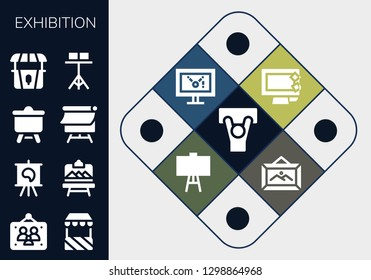 exhibition icon set. 13 filled exhibition icons. Simple modern icons about  - Demonstration, Picture frames, Stand, Canvas, Artboard, Display, Frame