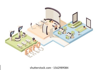 Exhibition isometric. Advertizing events stands and people vector 3d low poly exhibition complex interior