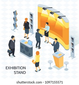 Exhibition isometric vector illustration with visitors and consultant with badge near expo stand illuminated by spotlights