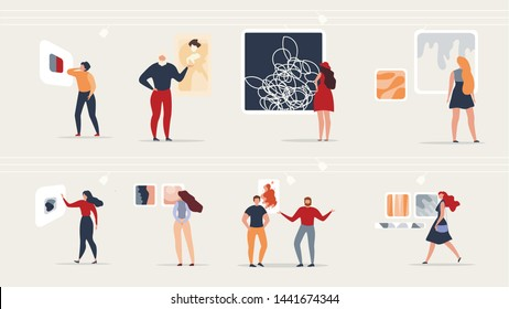 Exhibition Modern Abstract Paintings at Gallery. Visitors Gallery Viewing Abstract Paintings of Modern Art and Discuss Impressions. Colorful Vector Illustration in Flat Cartoon Style.