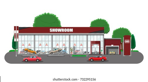 Exhibition pavilion, showroom or dealership. Car showroom building. Car center or store. Auto service and shop. Vector illustration in flat style
