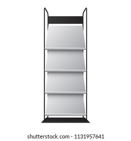Exhibition shelf for magazines or newspaper, vector expo stand design