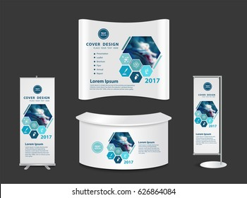 Exhibition stand with another surgery concept, vector illustrations layout template design