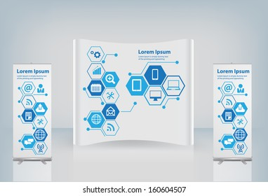 Exhibition stand with cloud of application icon, Technology business software and social media networking online store service idea concept, Vector illustration modern layout template design