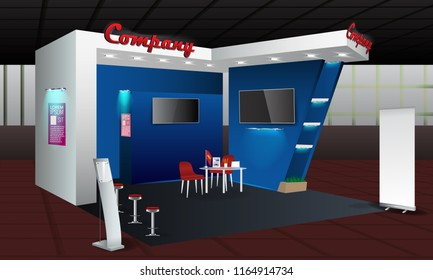 Exhibition stand display design with info board, roll up. Vector Trade booth template with Display Mock-up and corporate identity elements. Creative unique model.