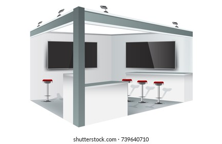 Exhibition stand display trade booth mockup design, white and grey colors.