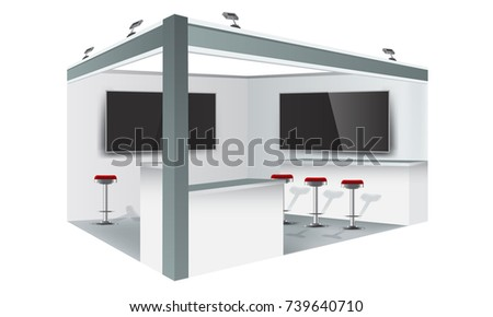 Exhibition Stand Free Vector : Exhibition stand display trade booth mockup stock vector royalty