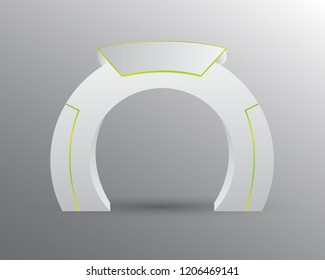 exhibition stand Gate entrance  vector with for mock up event display, green lighted