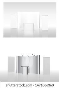 exhibition stands 3d rendering illustration vector