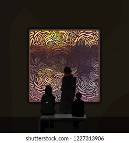 Exhibition visitors regarding creative artworks or exhibits in museum. People silhouettes looking at the old painting on gallery wall. Vector illustration