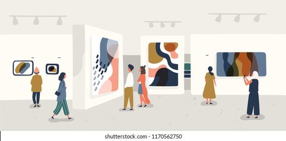 Exposición de visitantes viendo pinturas abstractas modernas en la galería de arte contemporáneo. Personas con respecto a obras de arte creativas o exposiciones en el museo. Ilustración vectorial colorida al estilo de las caricaturas planas.