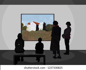 Exhibition visitors viewing modern abstract paintings at contemporary art gallery. Gallery of modern art with visitors. Vector illustration
