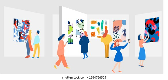 Exhibition visitors viewing modern abstract paintings at contemporary art gallery. People regarding creative artworks or exhibits in museum. Colorful vector illustration in flat cartoon style