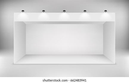 Exhibition white empty vector booth. Trade exhibition standard stand with spotlights.