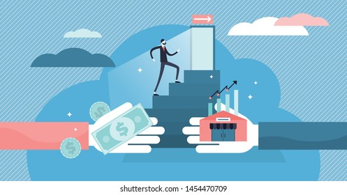 Exit business vector illustration. Flat tiny company sale persons concept. Successful sell decision process to trade ownership to entrepreneur. Buyout management and concern sell contract and deal.
