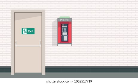 Exit door and pay phone vector. free space for  text. wallpaper. background.