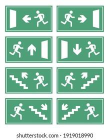 exit door sign set, emergency fire exit label