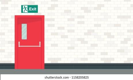 Exit door vector. free space for text. wallpaper. background.