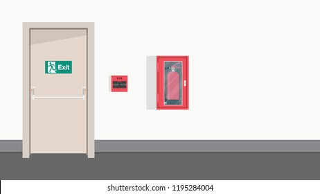 exit door vector. wallpaper. free space for text. background. Fire signal.