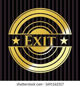 Exit gold badge or emblem. Vector Illustration. Detailed.