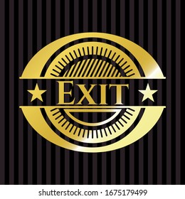 Exit gold shiny badge. Vector Illustration. Detailed.