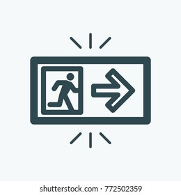Exit icon, fire alarm emergency exit lightning vector icon